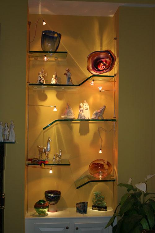 Custom Room Design Online: Tailored Glass Shelving And Lighting Design Project