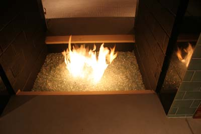 glass in fire - fire sculpture