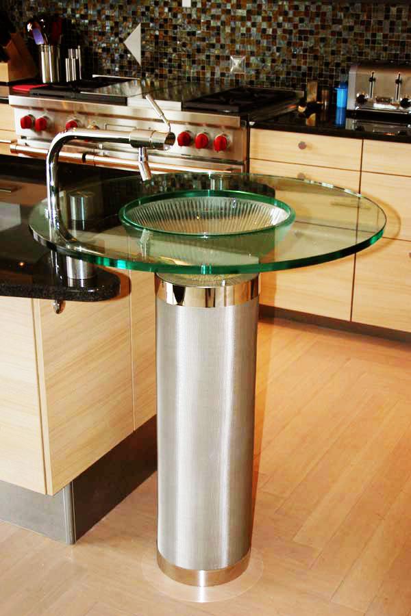 Unique Glass Pedestal Sink